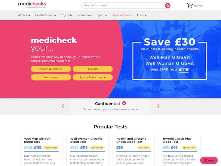 Medichecks home page
