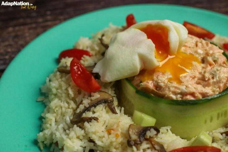Flaked Salmon & Lemony Mascarpone, Poached Egg & Mushroom Rice p3