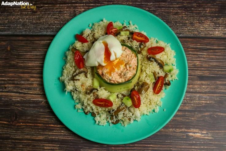 Flaked Salmon & Lemony Mascarpone, Poached Egg & Mushroom Rice p2