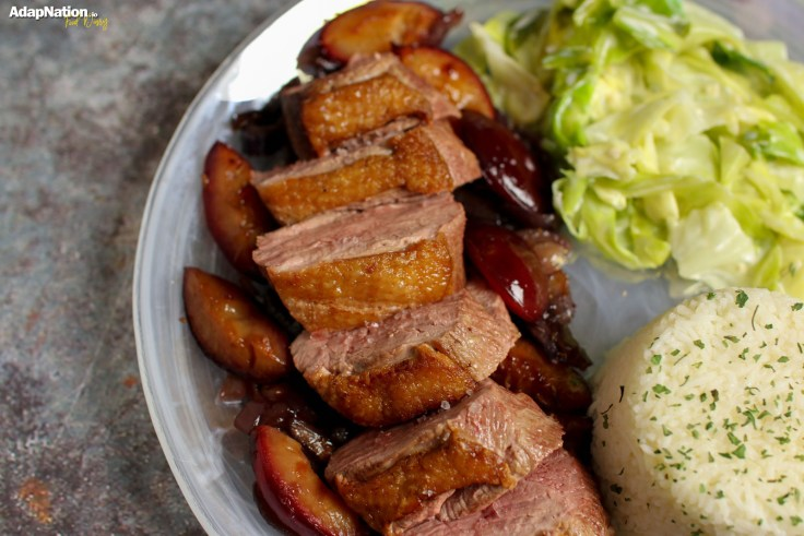 Duck Breast with Sweet Red Onion & Roasted Plum Sauce, Creamy Cabbage and Rice p4