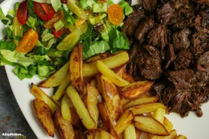 Slow-Cooked Ox Cheek, Crispy Chips & Salad