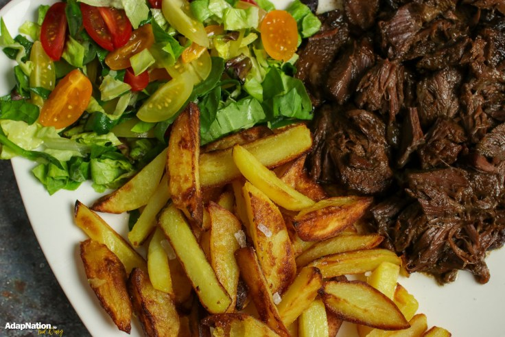 Ox Cheek, Crispy Chips & Salad