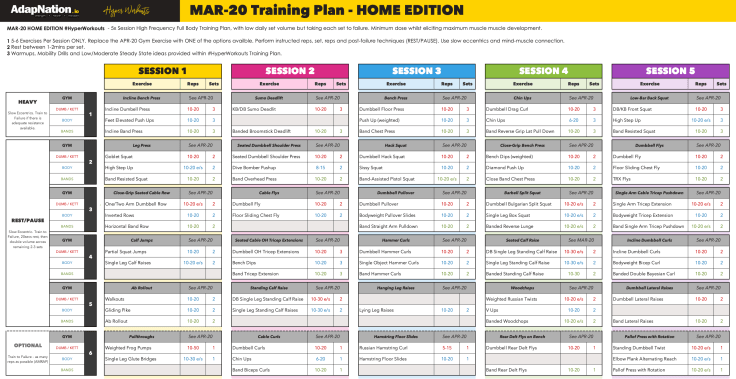 AdapNation Home Workout Plan
