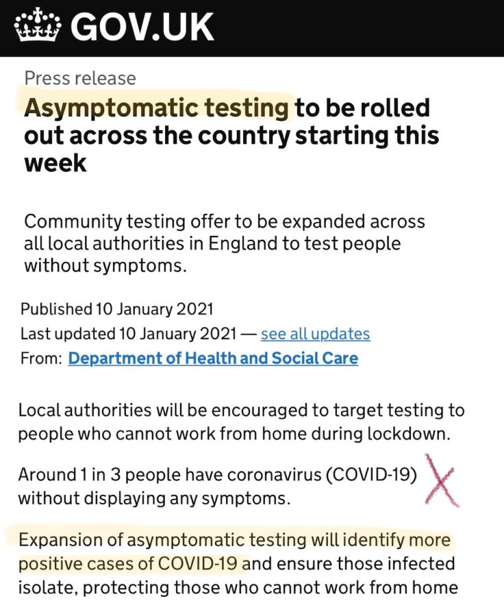 Asymptomatic UK Testing Rollout