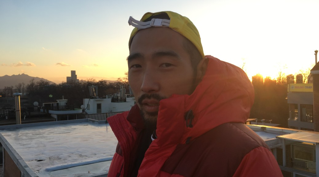 Jonathan DeBlois, 34, photographed on on his rooftop in Seoul, Korea on December 1, 2016.