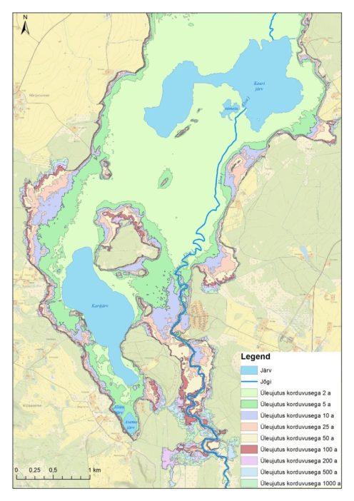 Kaardiosa näide - kuidas kahest väiksemast järvest saab üleujutuse korral üks suur.