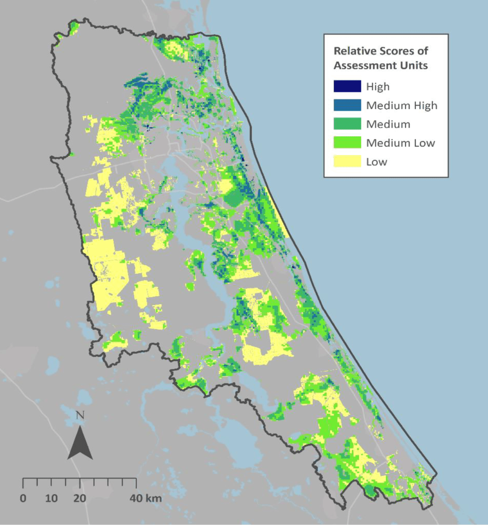 Resilience hub map for the lower St. Johns River watershed