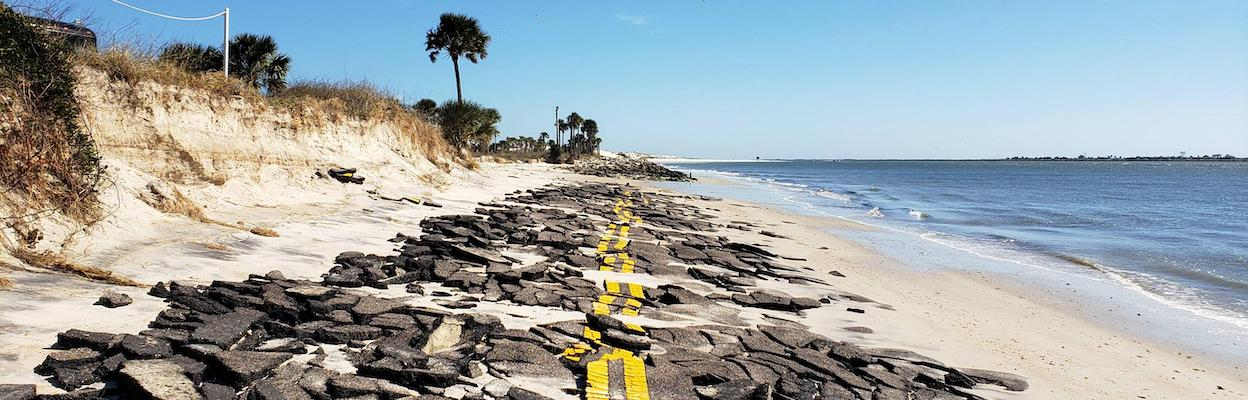 The road around Huguenot Memorial Park was destroyed by Hurricane Irma from the rising water levels of the ocean and St. Johns River