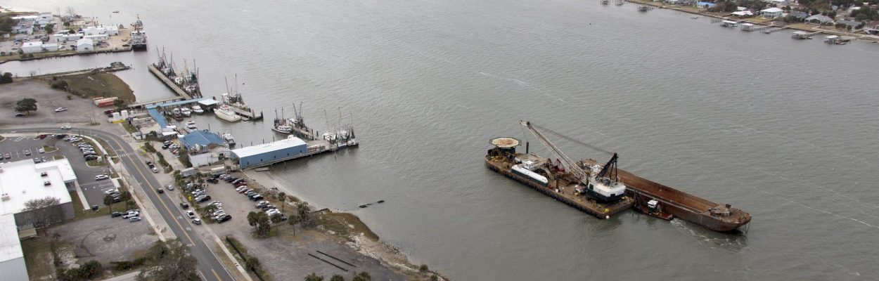 The Jacksonville Harbor Deepening project, which will bring the federal shipping channel in the St. Johns River to a depth of 47 feet, is started by the Dutra Group, contractors for the US Army Corps of Engineers.