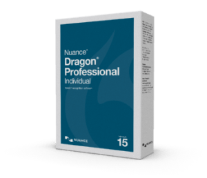 A blue book-shaped box that says Dragon Professional Individual 15