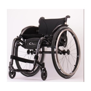 A black lightweight manual wheelchair with shiny silver wheel rims - the Kuschall K3