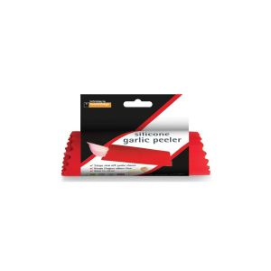 """A red tube inside some black, white, and red packaging, which says """"silicone garlic peeler""""."""