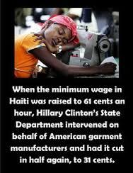Haiti Hillary state dept cut Haitian wages