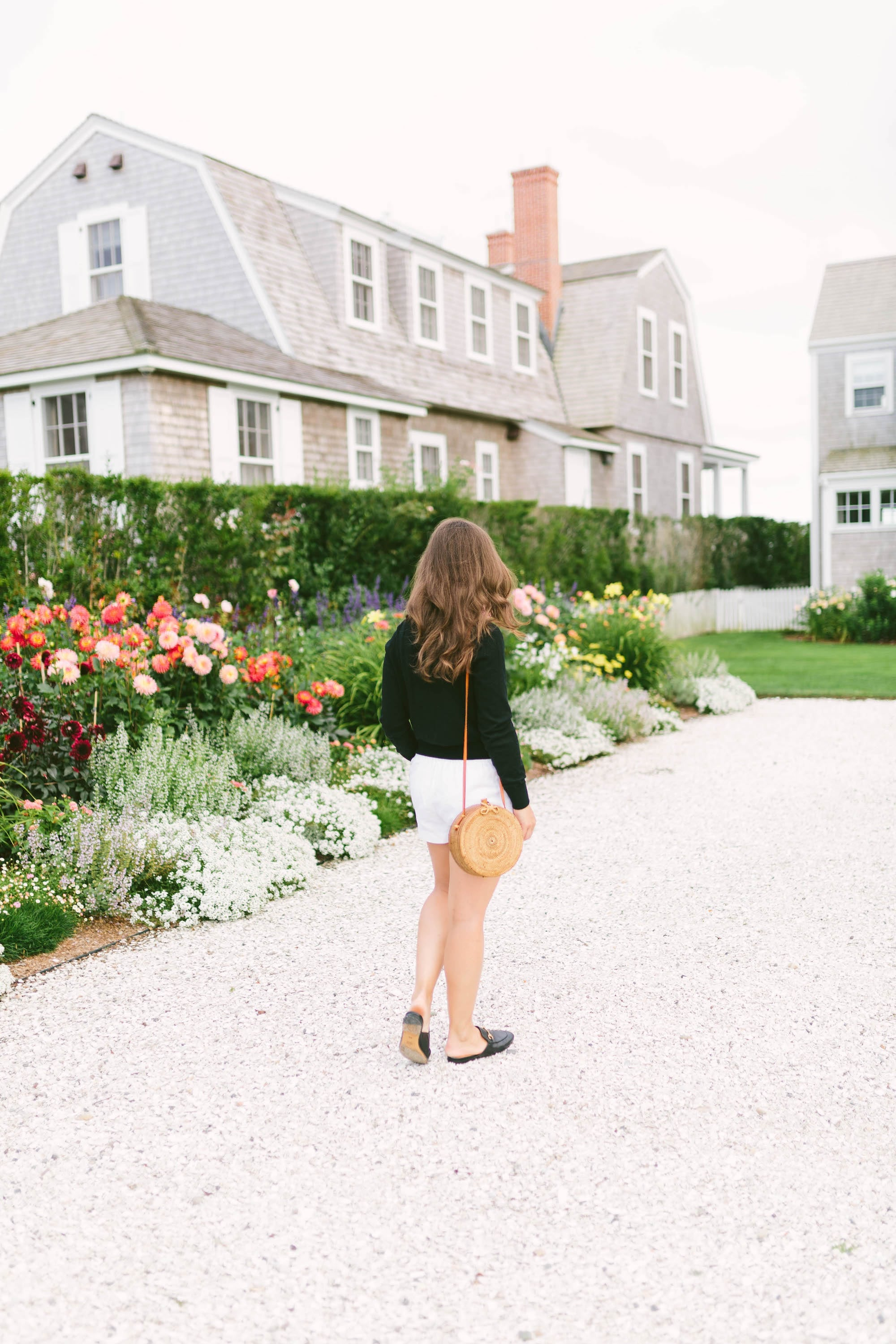 Black Sweater and White Shorts with BemBien Bag