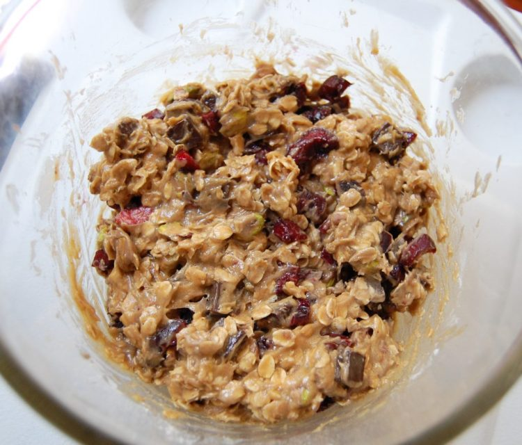 Pistachio, cherry, and dark chocolate cookie dough