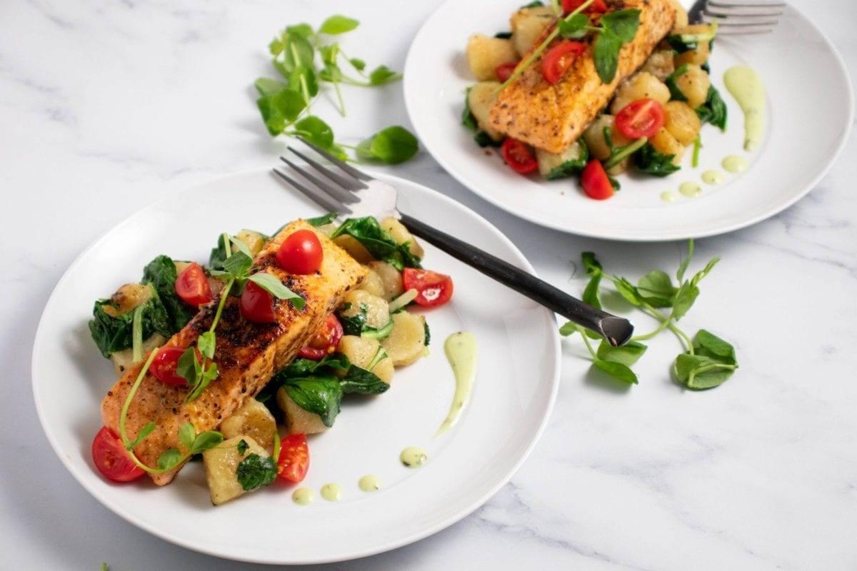 Seared Salmon with Cauliflower Gnocchi