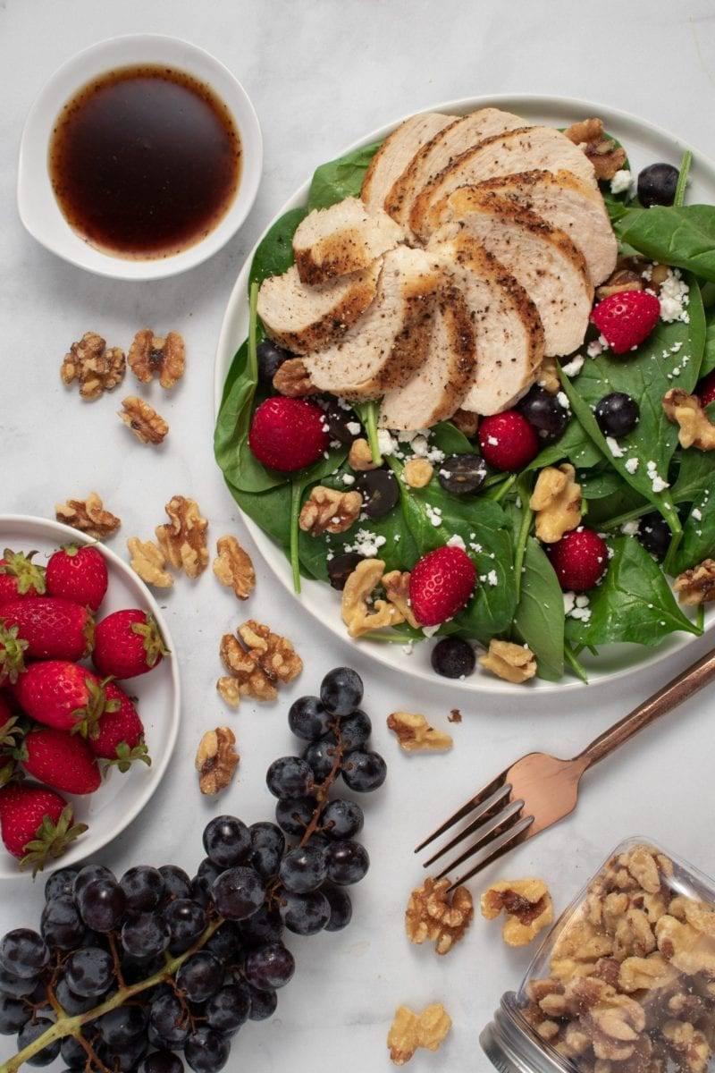 Chicken Strawberry and Walnut Salad