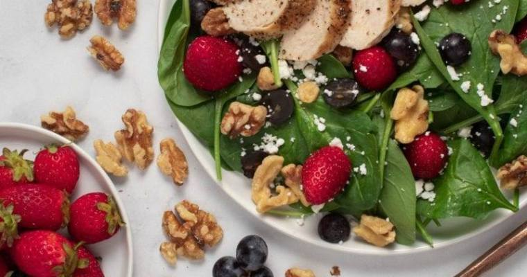Chicken Strawberry and Walnut Salad