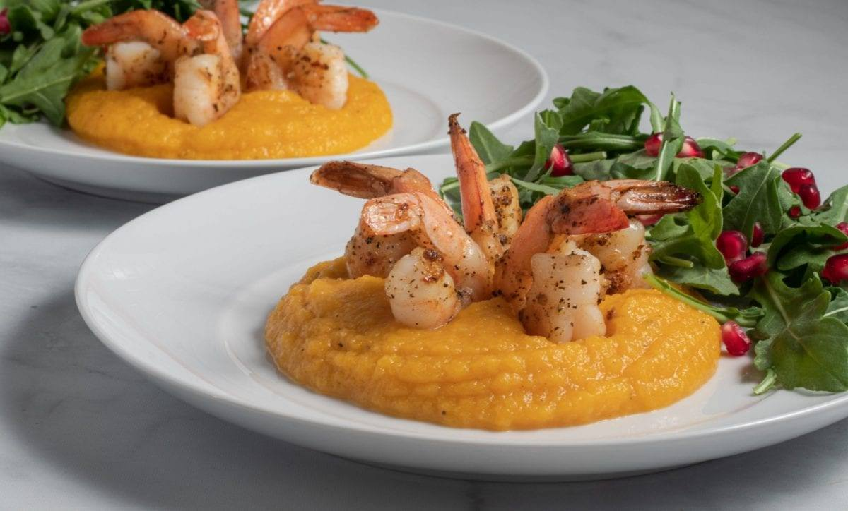 Roasted Butternut Squash Puree with Shrimp