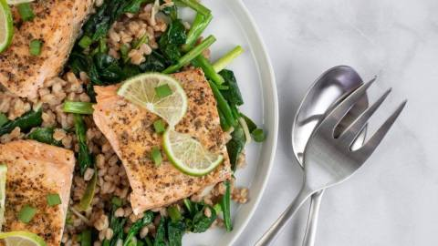 Salmon with Farro and Onions