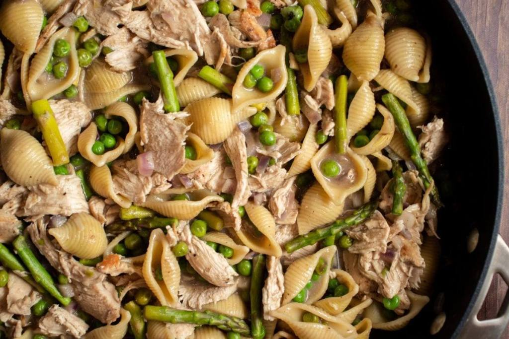 Creamy Chicken Pasta with Peas and Asparagus Meal Planning Meal Prep Counting Macros Freezer Friendly