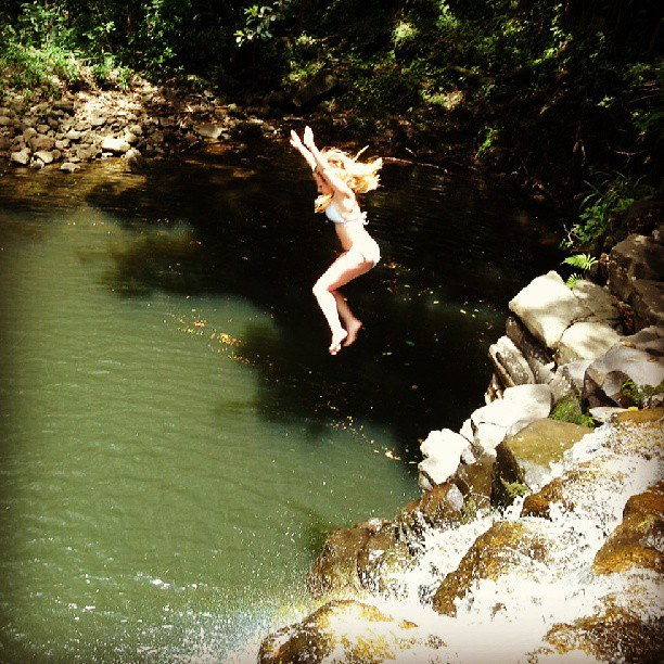 Jumping from a Waterfall