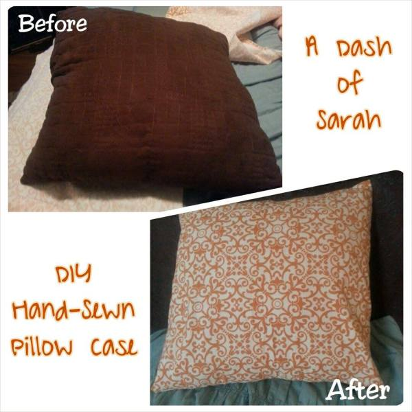 Before and After DIY Pillow Cover