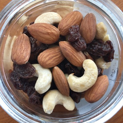 almonds, cashews, and raisins