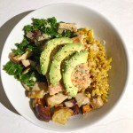 miso glazed salmon bowl with veggies and farro