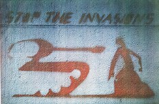 Photo of Seth's stencil against the invasion of Grenada.