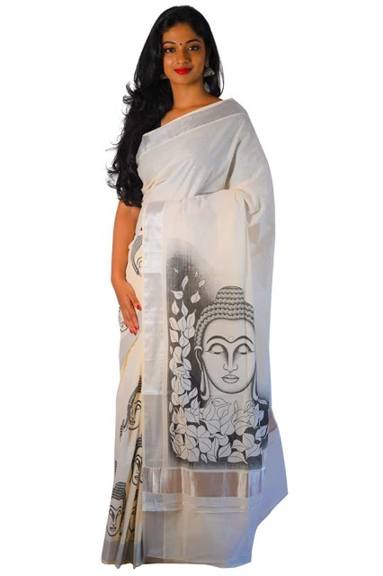 Southloom Women's Cotton Silver Kasavu Saree With Mural Buddha Design