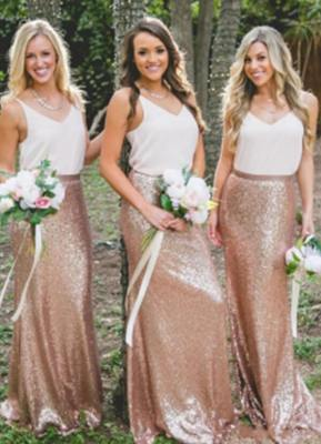 Chic V-Neck Sequins Skirt Bridesmaid Dresses