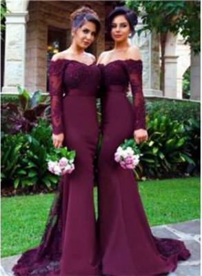Elegant Beads Long Sleeves Lace Appliques Mermaid Off-the-shoulder Bridesmaid Dress