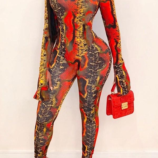 Lovely Leisure Snakeskin Printed Skinny One-piece Jumpsuit 2