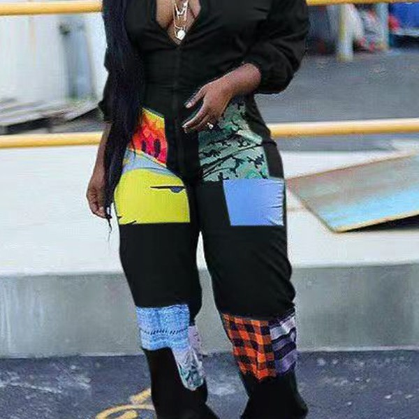 Lovely Trendy Patchwork Black One-piece Jumpsuit 2