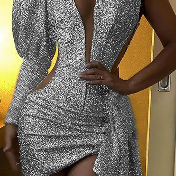 Lovely Party One Shoulder Silver Mini Evening Dress 2