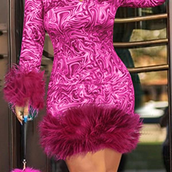 Lovely Chic Turndown Collar Patchwork Rose Red Knee Length Prom Dress 2
