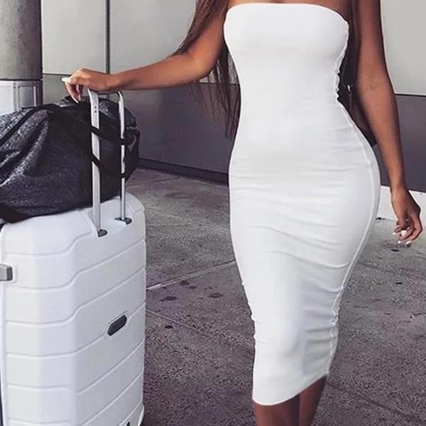 Lovely Trendy Dew Shoulder White Ankle Length Dress 2