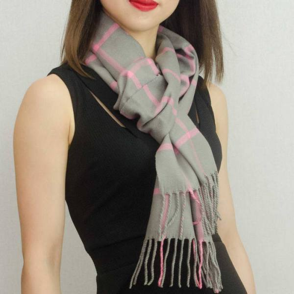 Woven Cashmere Feel Checker Scarf Z38 Grey/Pink 2