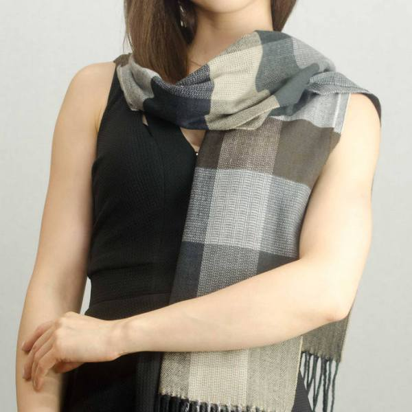 Woven Cashmere Feel Plaid Scarf Z40 Brown/Beige 2