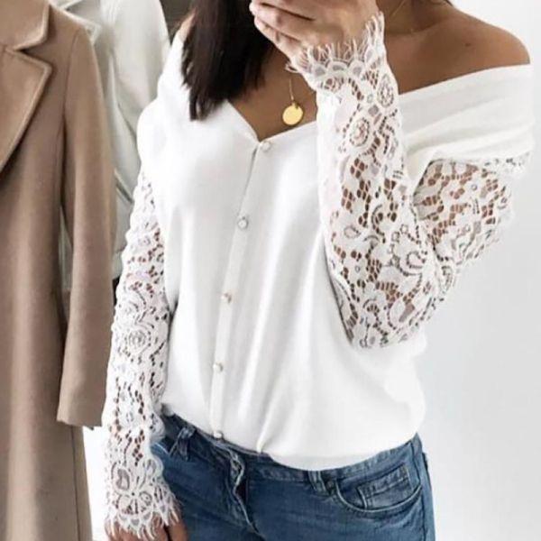Eyelash Lace Sleeve Off Shoulder Blouse 2
