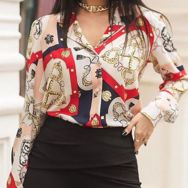 Chain Print Buttoned Casual Shirt 2