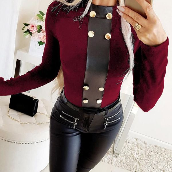 Solid Buttoned Design Round Neck Blouse 2