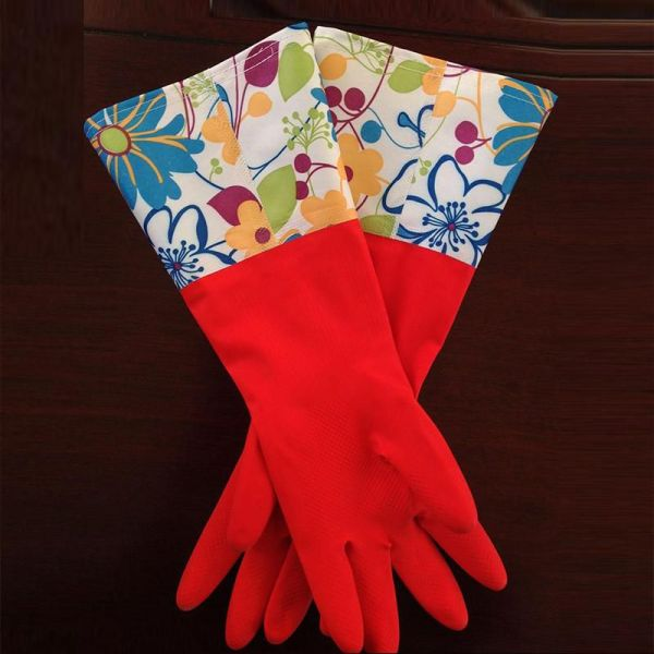 Floral Cotton Lined Rubber Gloves 2