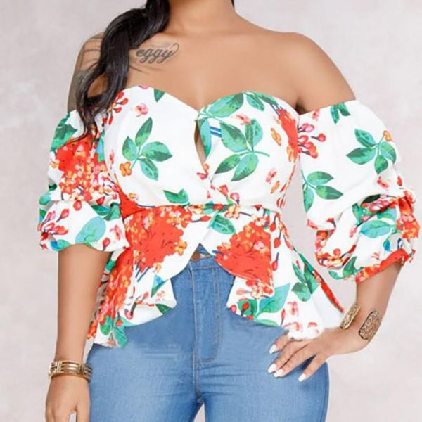 Sweetheart Floral Off Shoulder Ruffle Blouse 2