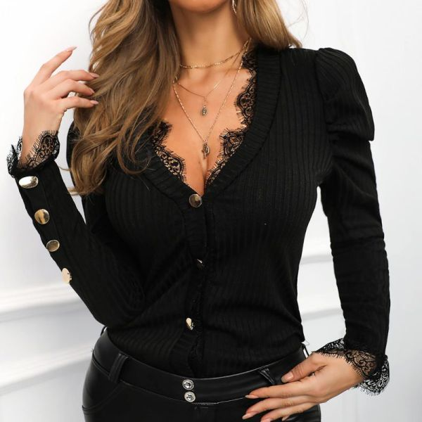 Solid Lace Trim Button-Up Blouse 2