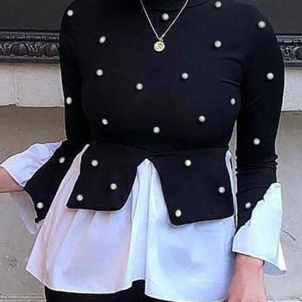 Beaded Colorblock Insert Ruffles Long Sleeve Blouse 2