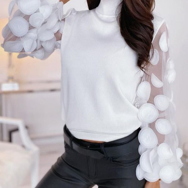 Mesh Puffed Sleeve Floral Blouse 2