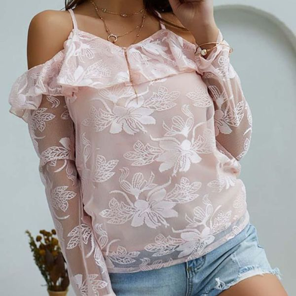 Lace Cold Shoulder Ruffles Casual Blouse 2