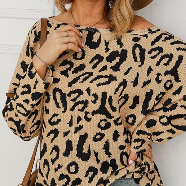 Skew Neck Abstract Leopard Print Long Sleeve Blouse 2
